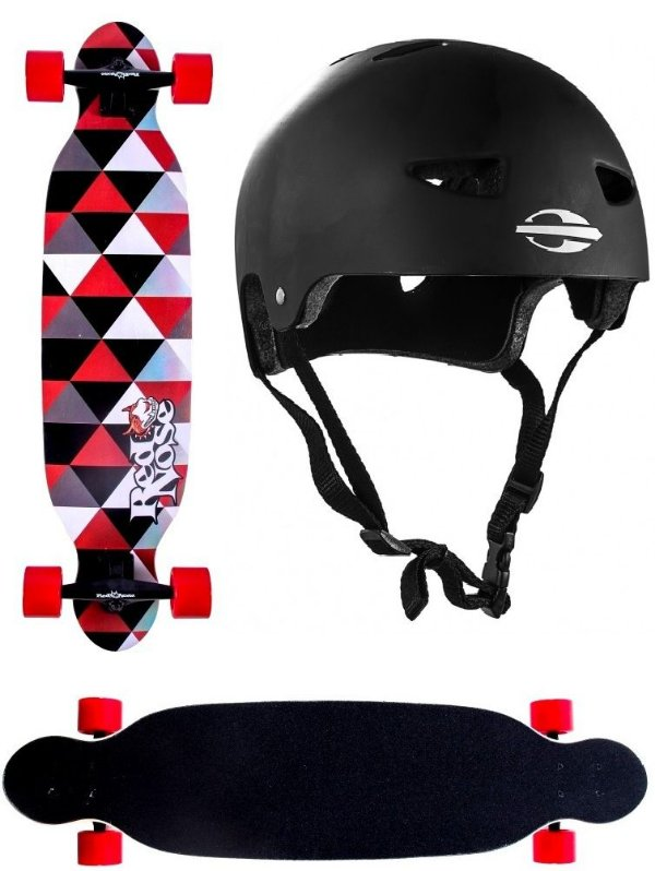 Skate Longboard Abec 7 Shape Shield Red Nose 444100 + Capacete M. Mormaii 497900