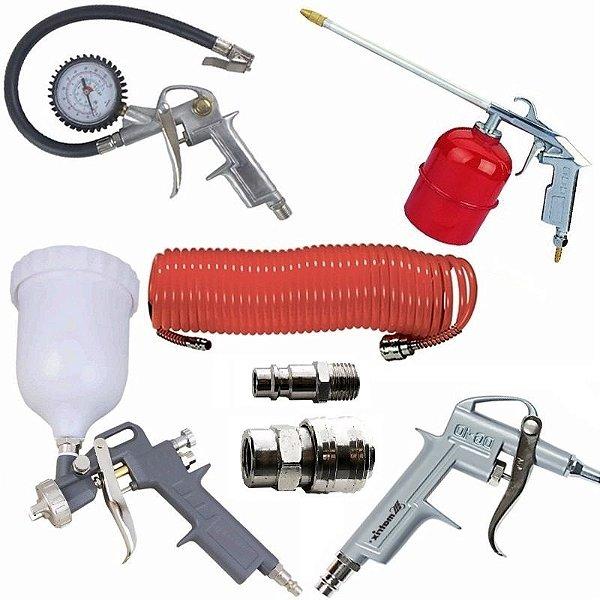 Kit Pistola Pintura 7 Peças Mangueira Calibrador Engate MTX 573049 / 570169