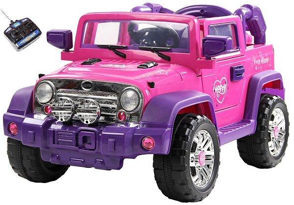 Mini Veículo Jipe 2x1 Rali Controle Remoto 12v Pink Som Luzes Bel Fix 927500