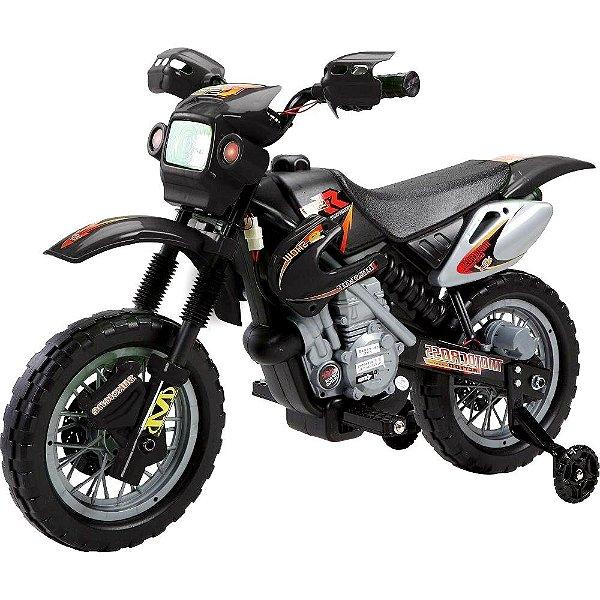 Mini Moto Cross Elétrica 6V Infantil Triciclo Som Luz Preto Bel Fix 926000