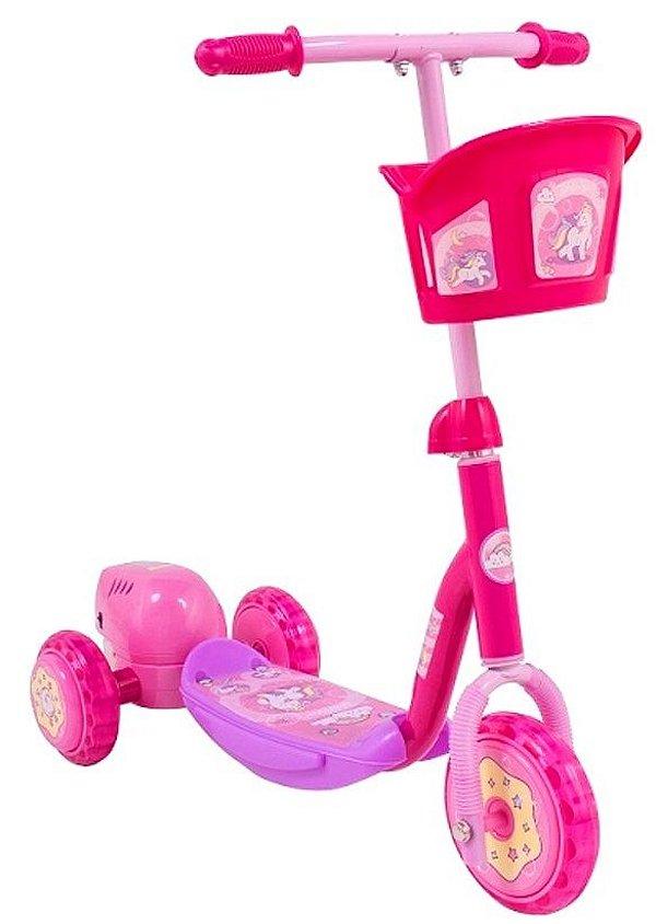 Patinete Infantil Bolhas Sabão 3 Rodas 20kg Freio Bubble Rosa Bel Sports 509400
