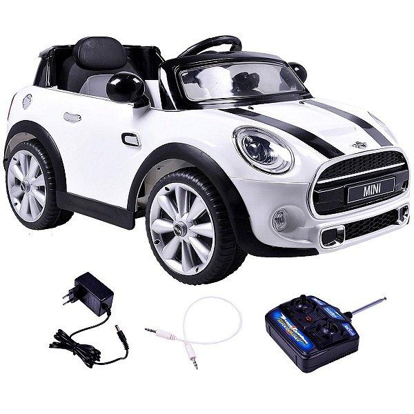 Mini Cooper 2x1 Veículo 12v Carro Elétrico Infantil C. Remoto Branco Bel Brink 926500