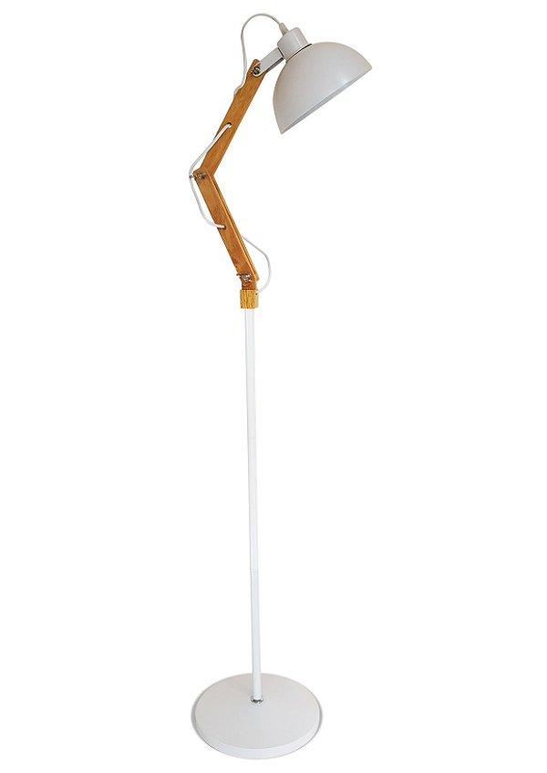 Luminária Articulada Chão Pedestal Coluna Metal Abajur 1,60m Branco LPM-101