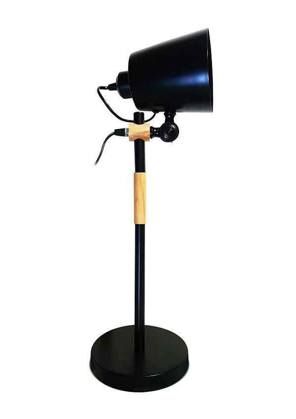 Luminária Articulada 2x1 Base Mesa Estudo Escritório Abajur Preto LMM-101