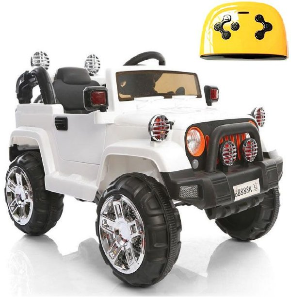 Mini Veículo Infantil Elétrico 3x1 Jipe 12v Controle Remoto Branco Glee S8-W