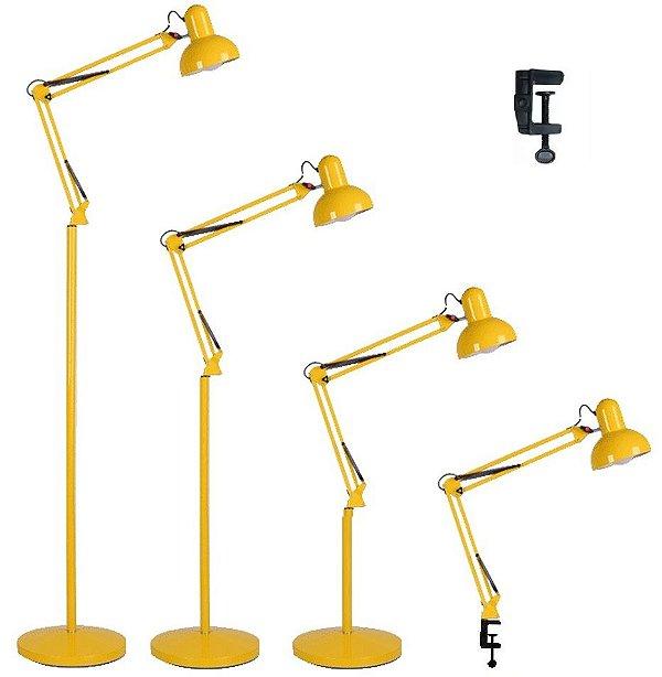 Luminária 2x1 Chão Piso Garra Mesa 1,90m Articulada Pedestal Coluna Abajur Led Amarelo MT-930B-G-Y