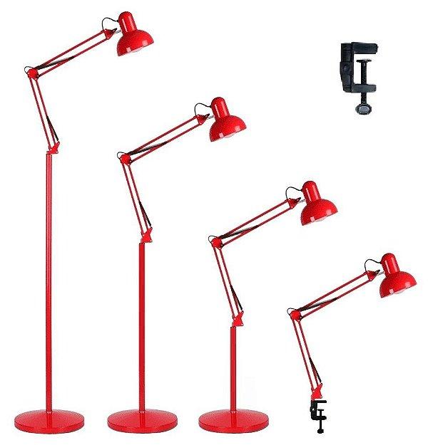 Luminária 2x1 Chão Piso Garra Mesa 1,90m Articulada Pedestal Coluna Abajur Led Vermelho MT-930B-G-R