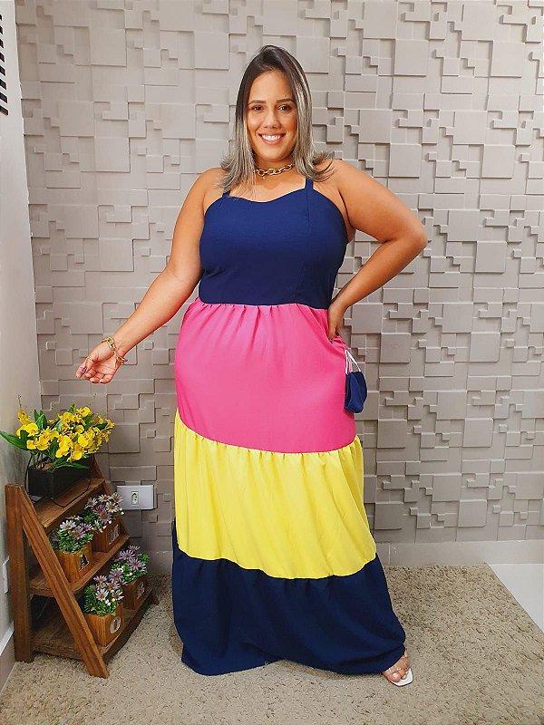Vestido Tricolor Longo MG