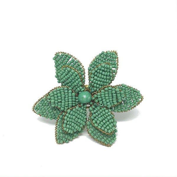 Porta guardanapo flor com miçangas verde