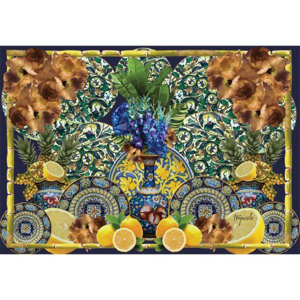 Conjunto de jogos americanos de papel Tropicale Sicília