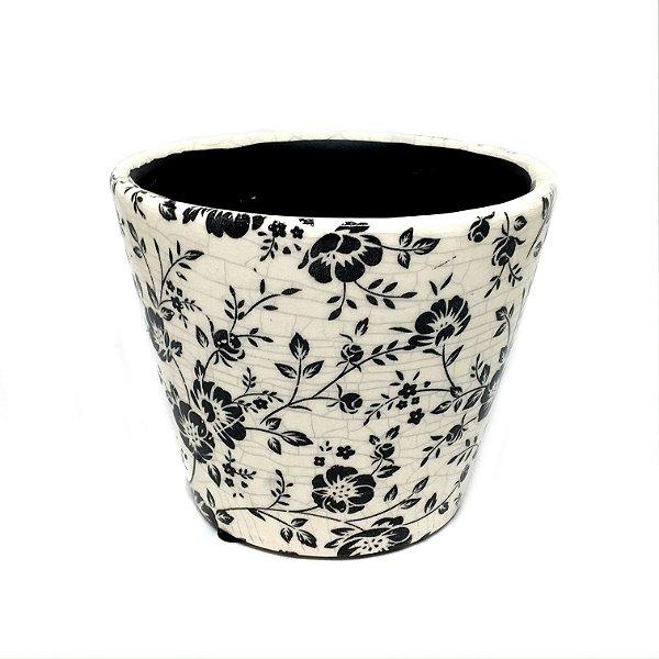 Cachepot floral preto e branco