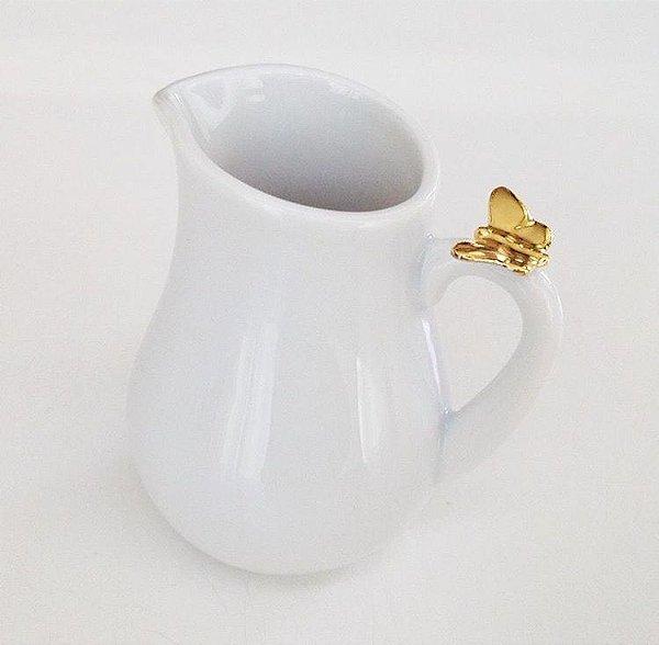 Mini jarra em porcelana com borboleta dourada