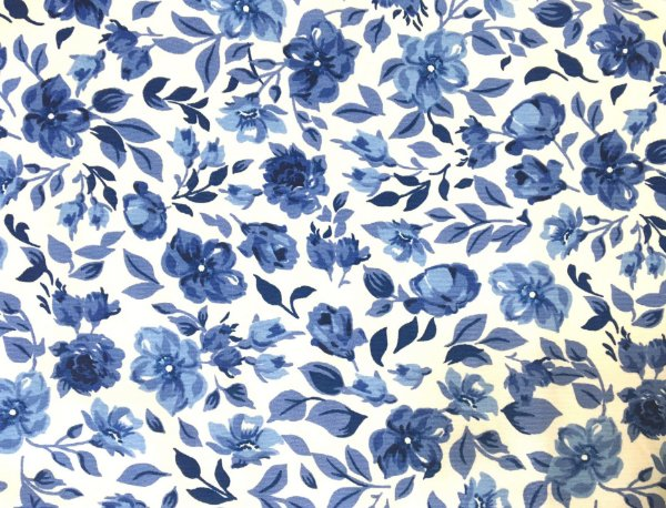 Jogo americano em tecido estampado floral azul