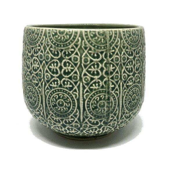 Cachepot em cerâmica verde trabalhado