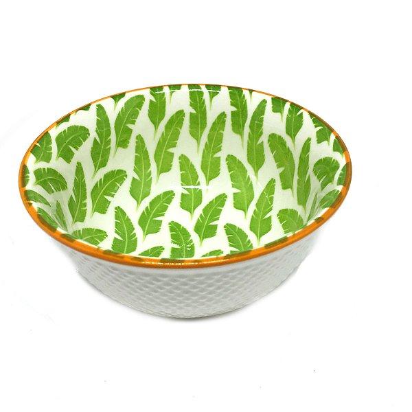 Bowl em cerâmica estampa folhas