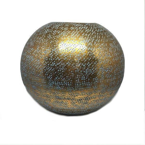 Vaso redondo dourado com azul