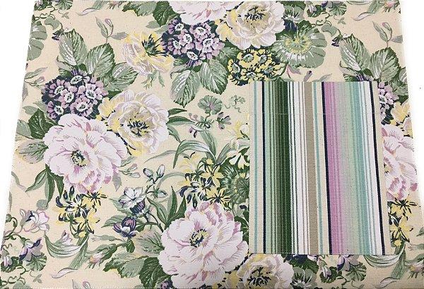 Jogo americano em tecido floral com bolso listrado