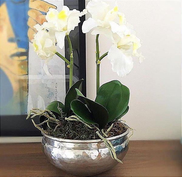 Cachepot em alumínio P com orquideas