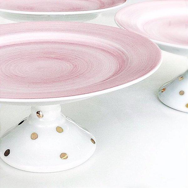 Prato suspenso em porcelana com detalhe rosa e poás dourados