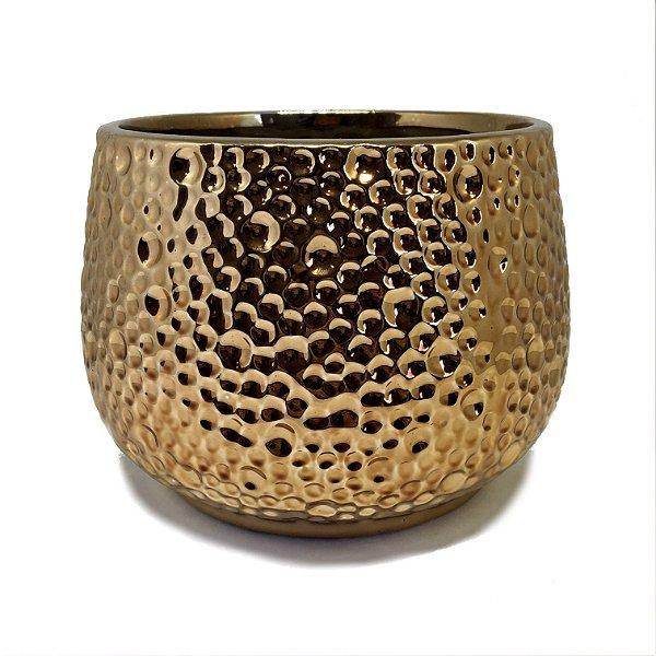 Cachepot em cerâmica dourado