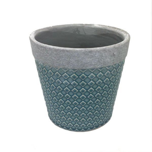 Cachepot concreto cinza com azul