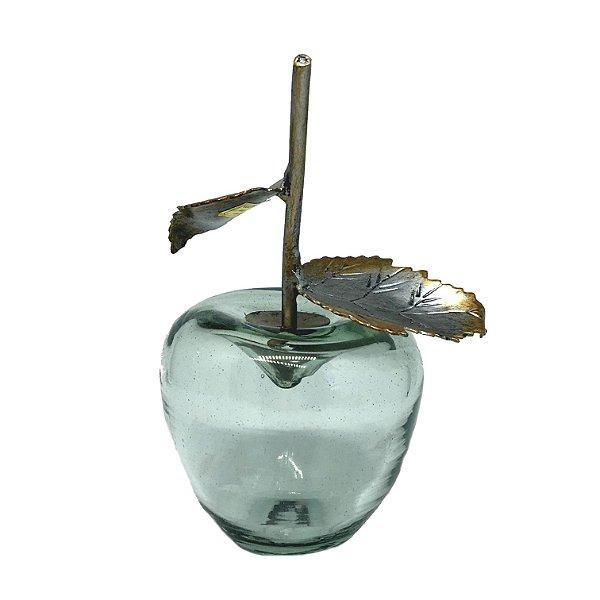 Maçã decorativa em vidro e metal