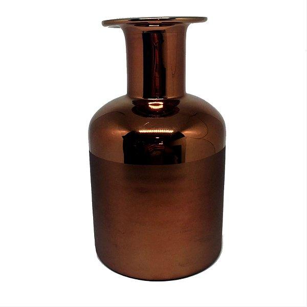 Vaso decorativo em vidro cobre M