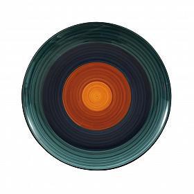 Prato raso em cerâmica azul e laranja