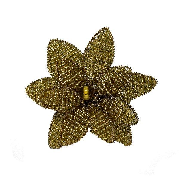 Porta guardanapo flor com miçangas douradas