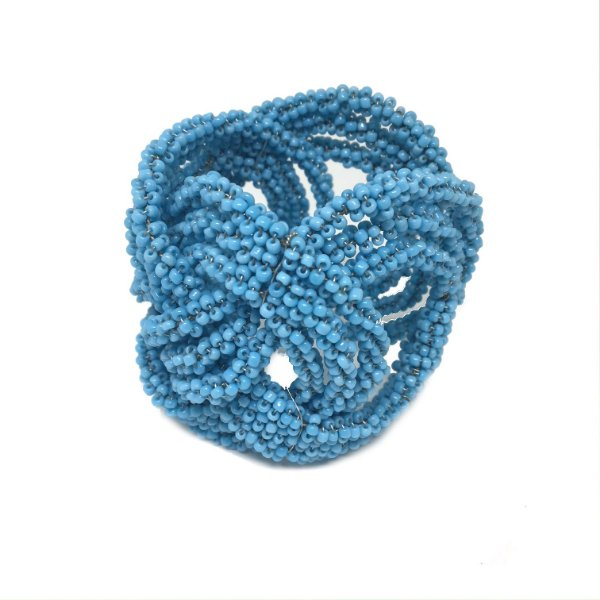 Porta guardanapo miçangas trançado azul