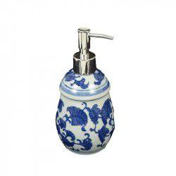 Dispenser para sabonete azul e branco
