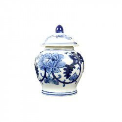 Mini potiche em cerâmica azul e branca