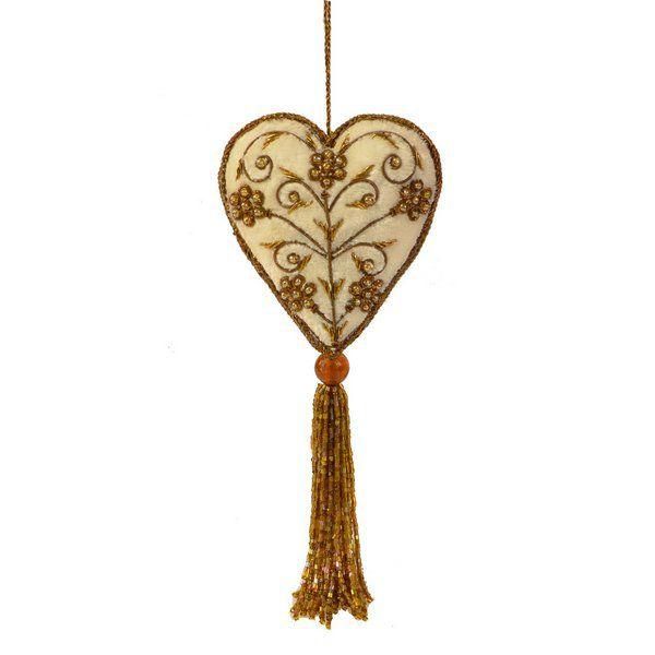 Coração em veludo marfim com pedraria dourada