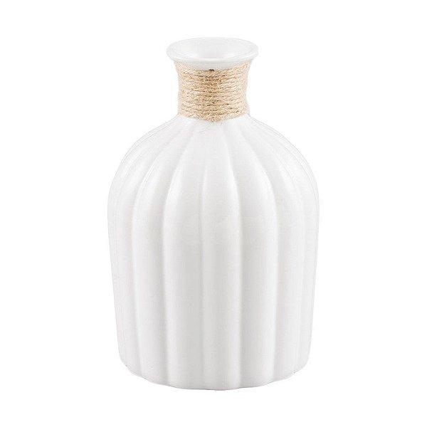 Vaso branco com sisal