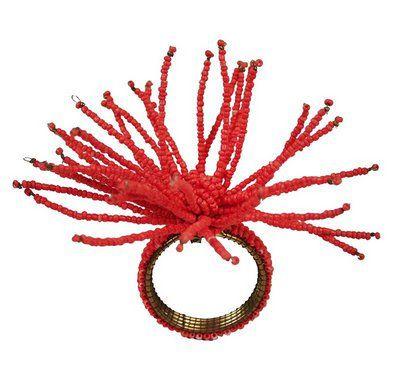 Porta guardanapo coral miçangas
