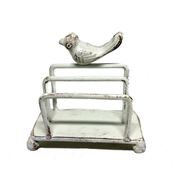 Porta guardanapo em ferro branco com pássaro