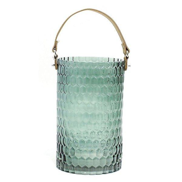 Porta vela vidro trabalhado com alça de couro G