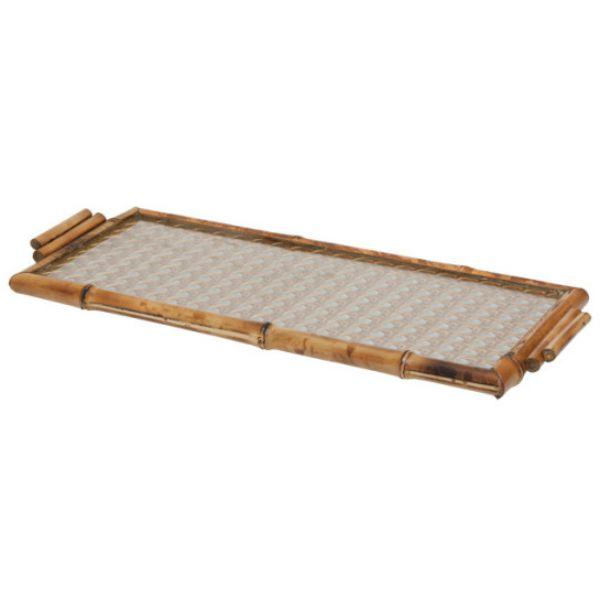 Bandeja de bambu e vidro com palha dourada