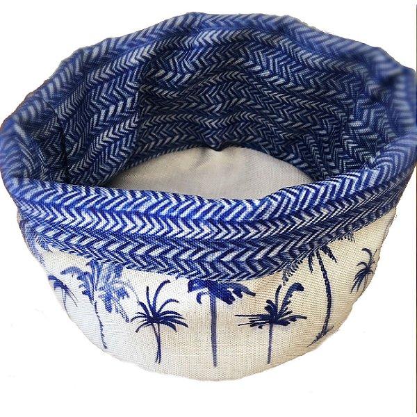 Cesto de tecido palmeiras azuis