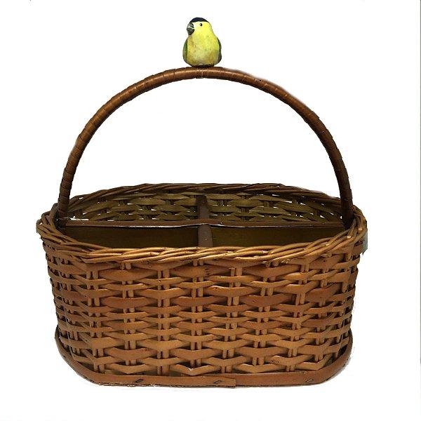Porta talher vime oval com pássaro