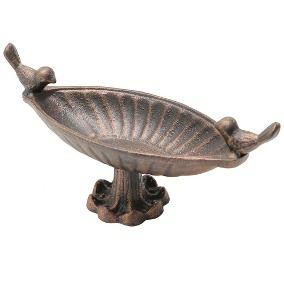 Peça decorativa em ferro esmaltado com pássaros na borda