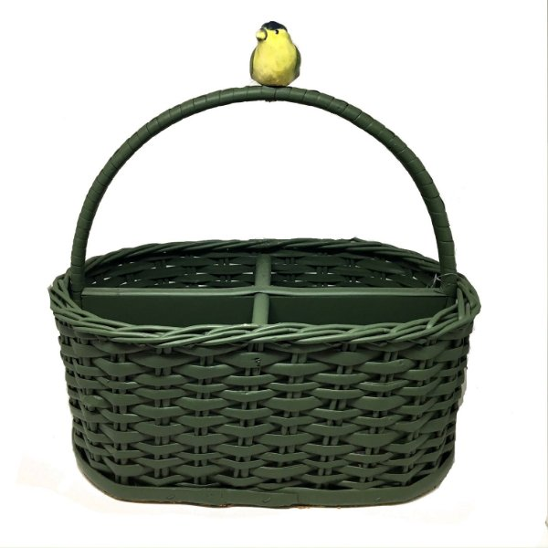 Porta talher vime verde oval com pássaro