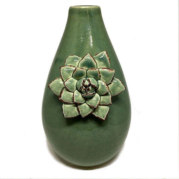 Vaso em cerâmica verde com flor 02