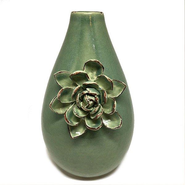 Vaso em cerâmica verde com flor 03