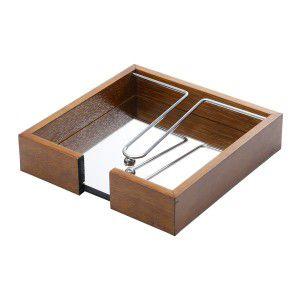 Porta guardanapo P em madeira com espelho e metal