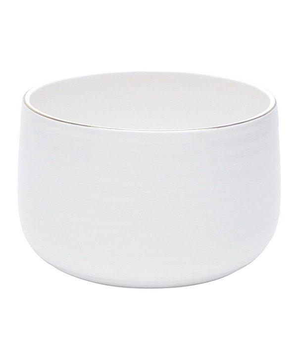 Cachepot em cerâmica branca com friso dourado P