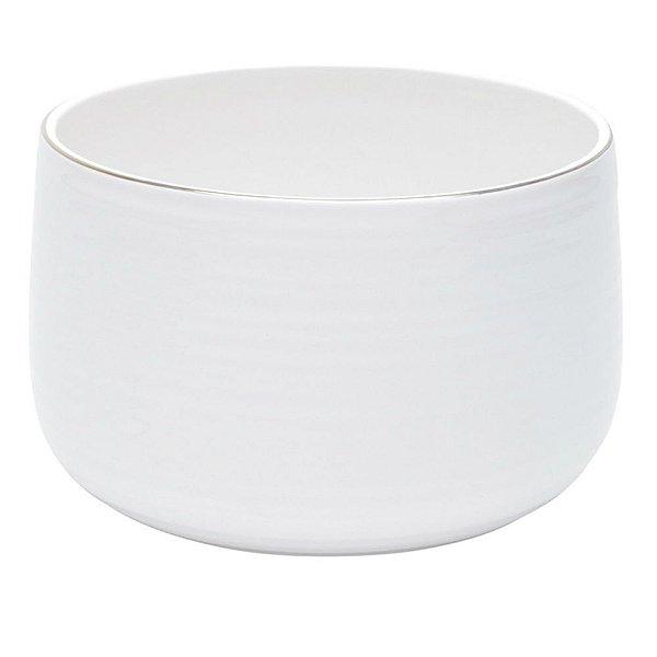 Cachepot em cerâmica branca com friso M