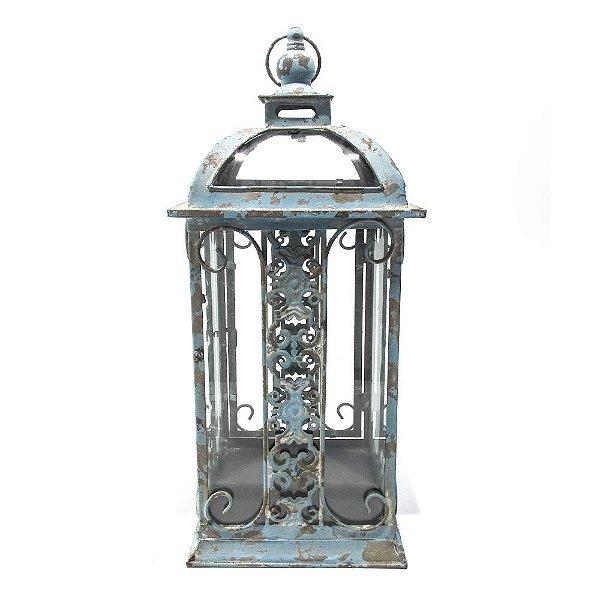 Lanterna em ferro e vidro azul