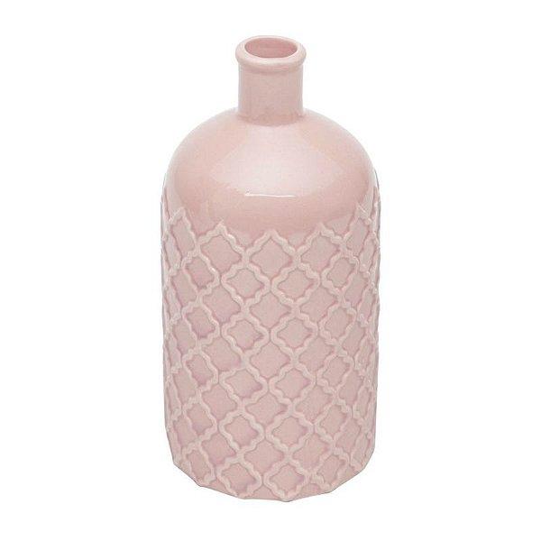 Vaso em cerâmica rosa bottle M