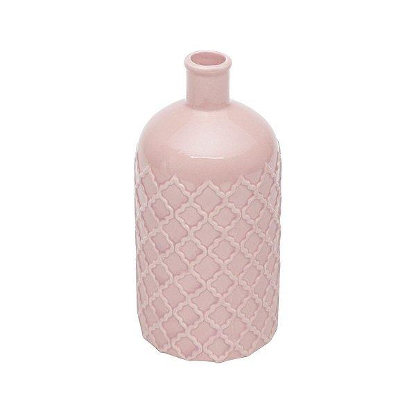 Vaso em cerâmica bottle rosa P